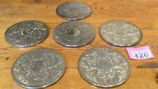 Set of 6 Silver Plated engraved coasters NATWEST TROPHY Cricket Final 1985