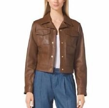 NWT MICHAEL Michael Kors Tailored Genuine Leather Jacket LUGGAGE Size L , $450
