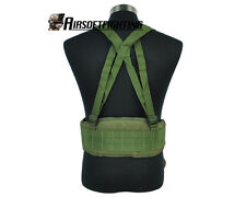 Tactical Airsoft Molle Waist Padded Belt with Suspender Hunting Paintball OD