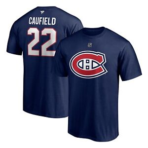 Men's Montreal Canadiens Cole Caufield Navy Authentic NHL Name Number T Shirt
