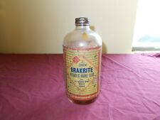 VINTAGE BRAKRITE HYDRAULIC BRAKE FLUID GLASS BOTTLE GAS STATION OIL CAN