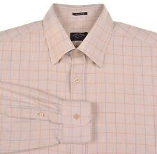 Paul & Shark Yatching Beige Blue Brown Tattersall Check COTTON WOOL Shirt L