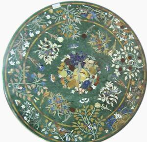 "48"" green Marble Table Top Inlay semi precious stones handmade patio decor"