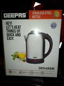 Geepas Electric Kettle Cordless Stainless Steel Jug 1.8L Overheat Protection