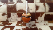Yerba Mate Curved painted Gourd cup +Gift Alpaca Straw / Bombilla