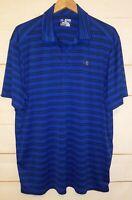 Men's UNDER ARMOUR UA HeatGear Short Sleeve Collared Polo Shirt Blue XXL 2XL EUC