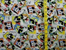 DISNEY MICKEY MOUSE TOSSED  COMICS  100% COTTON FABRIC  BY THE 1/2 YARD
