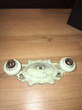 "1930's 12"" Cast Iron 2 Bulb Ceiling Light Fixture"