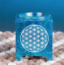 Aromalampe - Blume des Lebens, Speckstein blau, B: 7,5 cm, H: 10 cm, ST-172