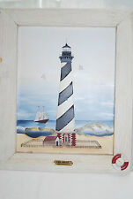 NEW BEAUTIFUL CAPE HATTERAS LIGHTHOUSE SCENE 1870 FRAMED PAINTING