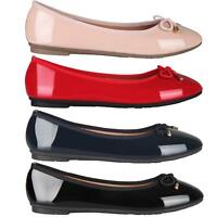 Womens Ladies Patent Flat Shoes Ballerina Ballet Dolly Court Pumps Slip On Bow