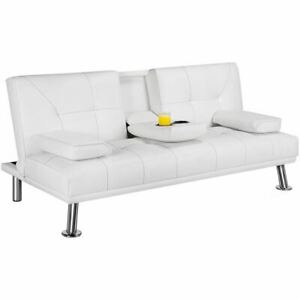 LuxuryGoods Modern Faux Leather Futon Sofa Bed Home Recliner Couch, White