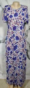 LULAROE NEW NWT Gray Blue Red Paisley Floral Maria Maxi Dress Short Sleeves