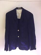 Stylish Zara Dark Blue Blazer With White Elbow Patches Size 38