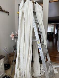 """RARE IKEA Sanela Off White Cream Natural Velvet Grommet Curtain 55 x 118"""" Set/ 2"""