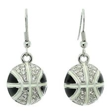 Basketball Black Earrings Made With Swarovski Crystal Earring Jewelry Gift