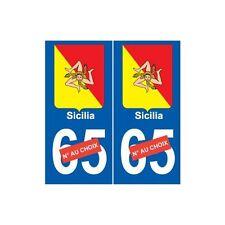 Sicile Sicilia sticker autocollant plaque numéro choix arrondis