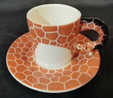 NEW! Set of 2 Espresso Tea Coffee Cup & Saucer Hand Painted Giraffe Mug Plate
