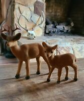 Set of 2 Vintage Flocked Reindeer Deer Buck w/ Antlers & Doe Christmas Decor