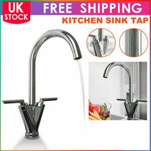 Kitchen Sink Mixer Basin Tap Twin Dual Lever Taps Swivel Chrome Waterfall Faucet