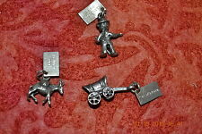 Stone Park, Covered Wagon/Ca & Donkey 3 Vintage Sterling Silver Charms, Yellow