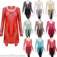 Ladies Crochet Butterfly Boyfriend Lace Cardigan Drape Mesh Top Plus Size 8 20