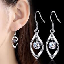 Muye 925 Sterling Silver Shiny Crystal Leaf Dangle Earrings Ear Hook Women NEW