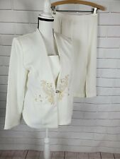 Womens Pride And Joy 2 Piece Cream Skirt Suit Size 8 Bride Wedding Mother Embroi