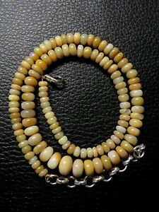 Natural Ethiopian Welo Opal Gemstone Beads Necklace 89.60 Ct Size 5 to 9 mm S2