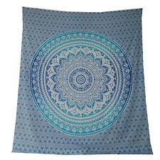 Couverture indienne Tenture Fleur Mandala bleu turquoise 230x210cm