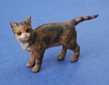 Miniature Dollhouse Brown Cat With Pointed Tail 1:12 Scale New