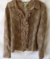 Harolds Ruffle Front Blouse Long Sleeve V Neckline Brown Cream Silk Size L #4924