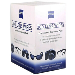 Zeiss 200 Lens Wipes Convenient Dispenser Pack Eye Glasses Screen Optical Camera