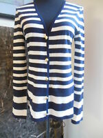 ST. JOHN BOUTIQUE BLACK WHITE STRIPED CARDIGAN SWEATER SIZE S WOOL BLEND