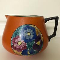 Antique Hand Painted Lemonade Cider Water Pitcher Floral Orange ODD MARK STAMP