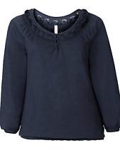 Sheego @ Kaleidoscope Plus Size 22 24 Navy Blue Lace Trim Long Sleeve TOP £35
