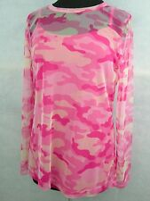 Insect Shield Quagga Pink Camo Mesh Shirt L Tank Women's Camping Hunting Travel