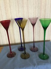 "Cocktail Glasses Set Of Five —Emeril Colors —10"" Tall"