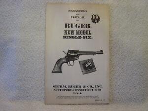 RUGER NEW MODEL SINGLE SIX 1977  gun catalog parts list