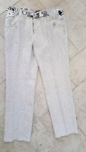 Superbe pantalon Pause Cafe Blanc raye bleu Lin Taille 46