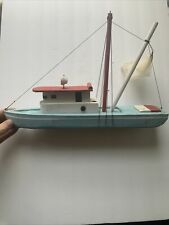 Vintage 1950's Wooden Pond Fishing Boat Red, White, & Blue