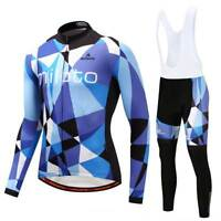 Men's Cycling Clothes Long Sleeve Cycle Jersey and Padded (Bib) Pants Tight Kit