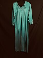 Vintage Shadowline Emerald Green Long Robe Nylon Button Up Long Sleeves Large