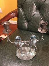 COUPLE Of VERDIGRIS FROGS CANDLE HOLDER BRASS.
