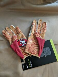 San Francisco 49ers Team Logo Nike Vapor Jet 5.0 Football Gloves Size Large