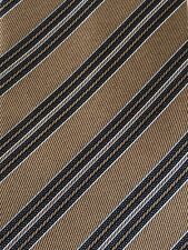 DOLCEPUNTA Handmade 100% Silk Neck Tie Italy brown with stripes GUC