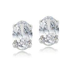Sterling Silver 1.50ct White Zircon 6x4 Oval Stud Earrings