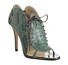 Camilla Skovgaard Green Pewter Gray High Heel Peep Toe Bootie Python 9 9.5 40