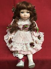 "Tuss Collectible Series1998 William Tung 10"" Sitting Porcelain Doll Pink Dress"