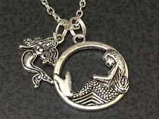 "Mermaids Circle  Charm Tibetan Silver with 18"" Necklace BIN"
